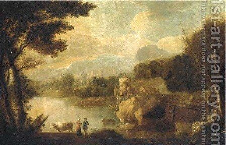 An Italianate landscape with figures and cattle by a river, a castle beyond by (after) Johann Christian Vollerdt Or Vollaert - Reproduction Oil Painting