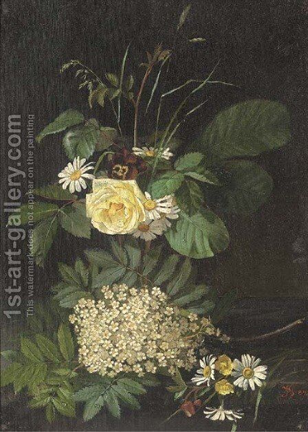 Wild flowers by (after) Johann Laurentz Jensen - Reproduction Oil Painting