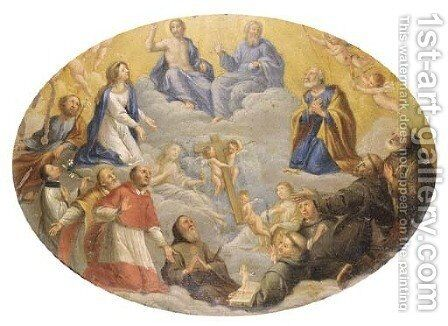 The Trinity adored by the Madonna, Saints Francis and Ignatius of Loyola and other Saints by (after) Johann Rottenhammer - Reproduction Oil Painting