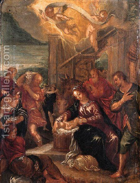 The Adoration of the Shepherds by (after) Johann Rottenhammer - Reproduction Oil Painting