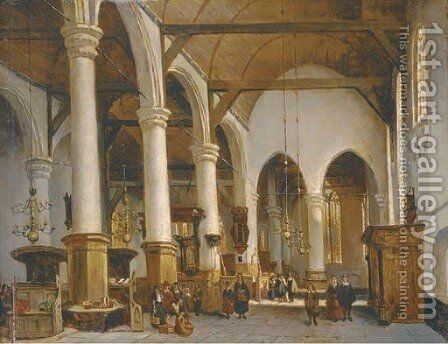 Figures in a church interior by (after) Johannes Bosboom - Reproduction Oil Painting