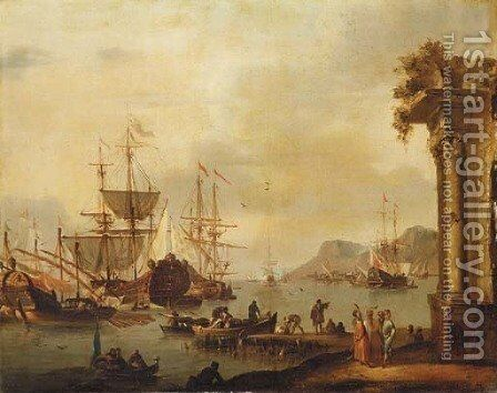 A Mediterranean harbor with merchants by (after) Johannes Lingelbach - Reproduction Oil Painting