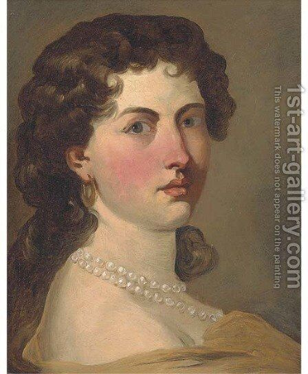 Portrait of a lady by (after) John Baptist Medina - Reproduction Oil Painting