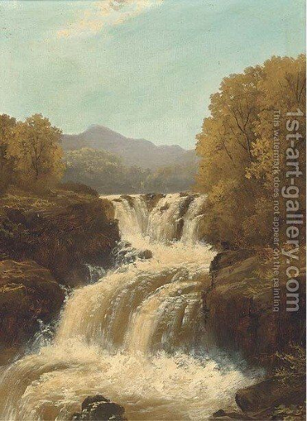 A waterfall in full spate; and A tranquil pool by (after) John Brandon Smith - Reproduction Oil Painting