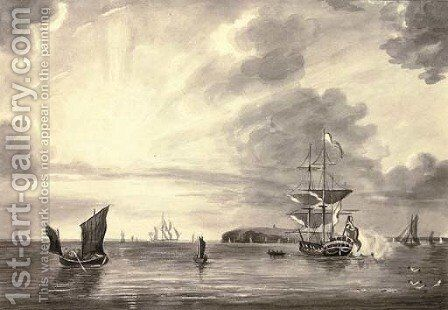 Shipping by the lighthouse by (after) John The Younger Cleveley - Reproduction Oil Painting