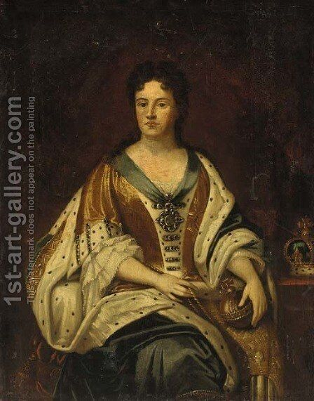 Portrait of Queen Anne (1665-1714), seated three-quarter-length, in Garter robes, holding an orb by (attr.to) Closterman, Johann - Reproduction Oil Painting