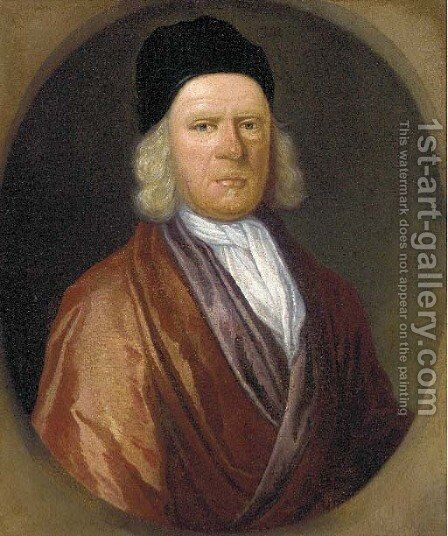 Portrait of Rev. Thomas Tooke (d.1721), bust-length, in a brown coat, white stock and black cap, feigned oval by (attr.to) Closterman, Johann - Reproduction Oil Painting