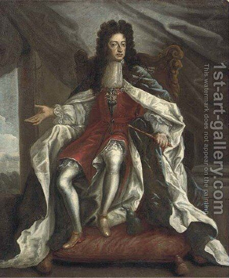 Portrait of William III, full-length, in coronation robes by (attr.to) Closterman, Johann - Reproduction Oil Painting