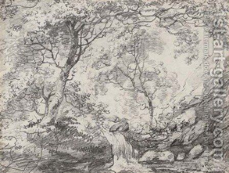 A woodland landscape with a waterfall by (after) Constable, John - Reproduction Oil Painting