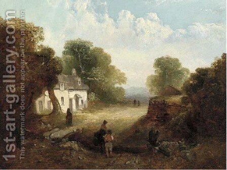 Figures before a sunlit cottage by (after) John Crome - Reproduction Oil Painting