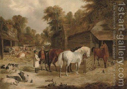 Admiring the hunters by (after) John Frederick Herring - Reproduction Oil Painting