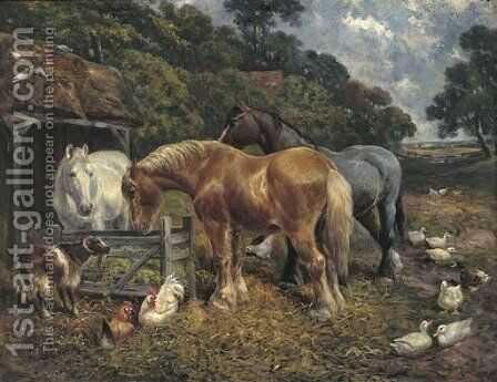 In the farmyard by (after) John Frederick Herring - Reproduction Oil Painting