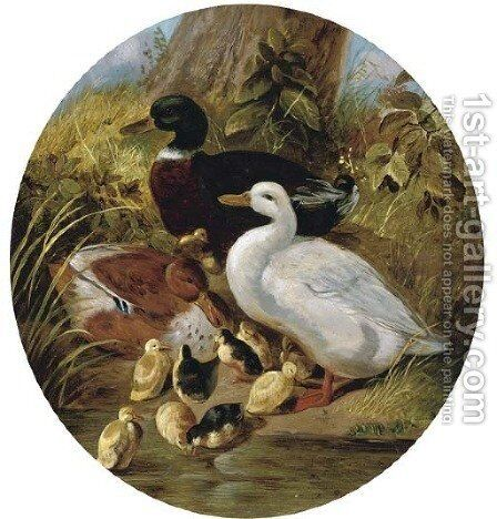 The bank of the duck pond by (after) John Frederick Herring - Reproduction Oil Painting