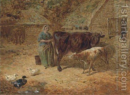 Milking time by (after) John Frederick Jnr Herring - Reproduction Oil Painting
