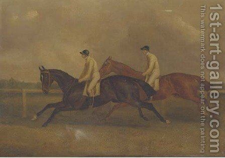 The Celebrated St. Leger, 1840, with Lord Westminster's Launcelot and Maroon by (after) John Frederick Jnr Herring - Reproduction Oil Painting