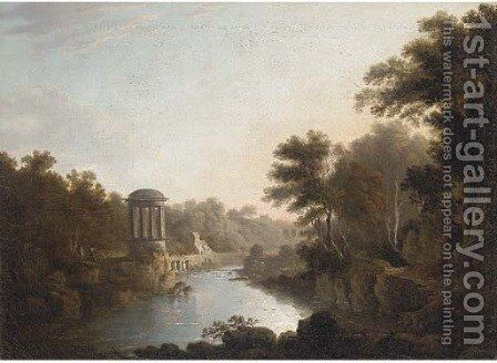 Figures by a folly, with buildings beyond by (after) John Glover - Reproduction Oil Painting