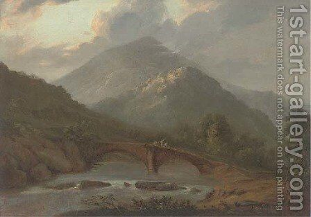 Workers crossing a stone bridge in a highland landscape by (after) John Glover - Reproduction Oil Painting