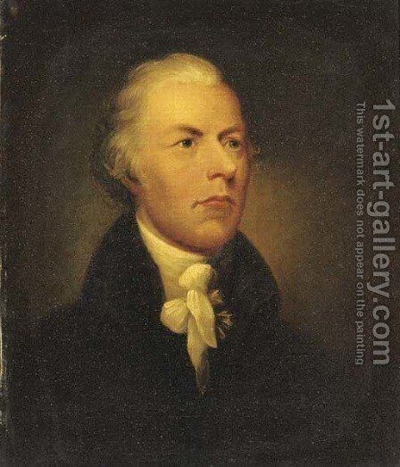 Portrait of a gentleman, previously identified as William Pitt the younger, bust-length, wearing a black coat and white cravat by (after) Hoppner, John - Reproduction Oil Painting