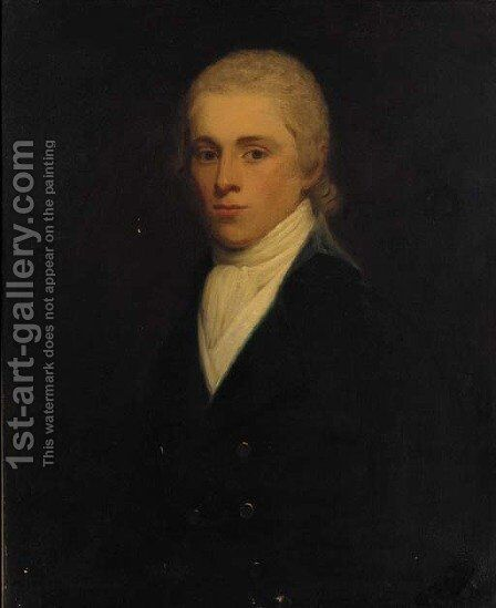 Portrait of a gentleman, traditionally identified as Sir John Twung, bust-length, in a black jacket and white cravat by (after) Hoppner, John - Reproduction Oil Painting