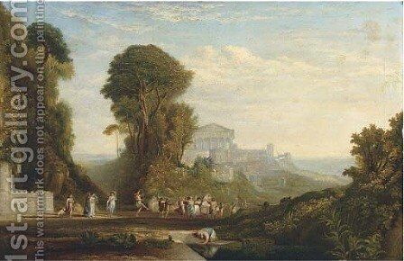 A Bacchanalean procession in an Arcadian landscape by (after) John Martin - Reproduction Oil Painting