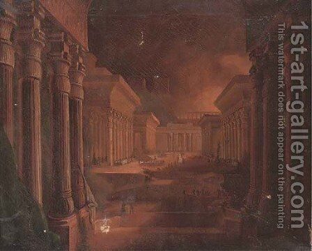 Figures among extensive Egyptian buildings by (after) John Martin - Reproduction Oil Painting
