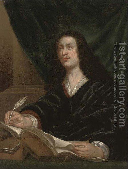 Portrait of a gentleman, traditionally identified as John Milton (1608-1674) by (after) John Michael Wright - Reproduction Oil Painting