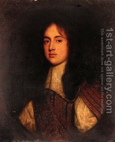 Portrait of Sir John Bowyer by (after) John Michael Wright - Reproduction Oil Painting