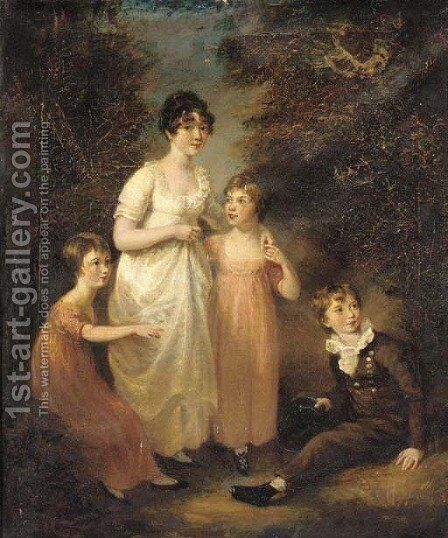 Portrait of four children, small full-length, in a landscape by (after) John Opie - Reproduction Oil Painting