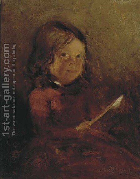 A girl with a book, a sketch; and A girl with a letter by (after) John Phillip - Reproduction Oil Painting