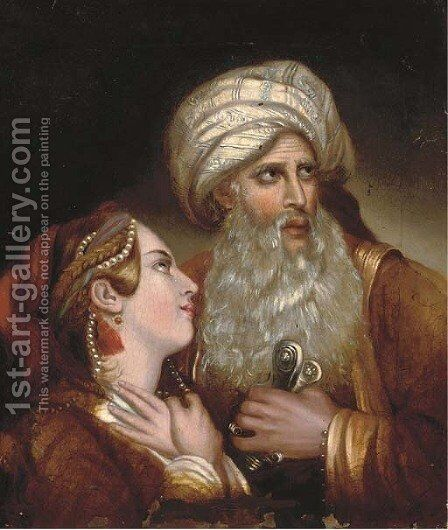 A maiden with a Turk by (after) John Phillip - Reproduction Oil Painting