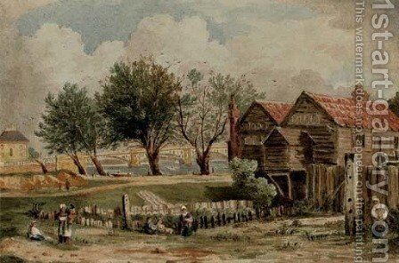 A boathouse at Millbank near Vauxhall Bridge by (after) John Varley - Reproduction Oil Painting