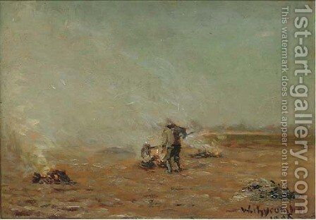Burning stubble, Withycombe by (after) John William North - Reproduction Oil Painting