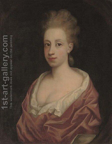 Portrait of a lady, bust-length, in a white dress and pink wrap, in a feigned oval by (after) Richardson. Jonathan - Reproduction Oil Painting