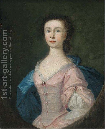 Portrait of Alice Bill, half-length, in a pink dress and blue wrap, in a feigned oval by (after) Richardson. Jonathan - Reproduction Oil Painting