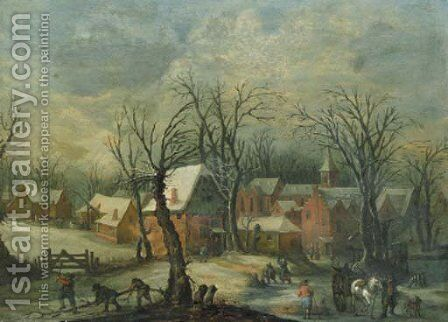 A view of a village in winte by (after) Joos Or Josse De, The Younger Momper - Reproduction Oil Painting