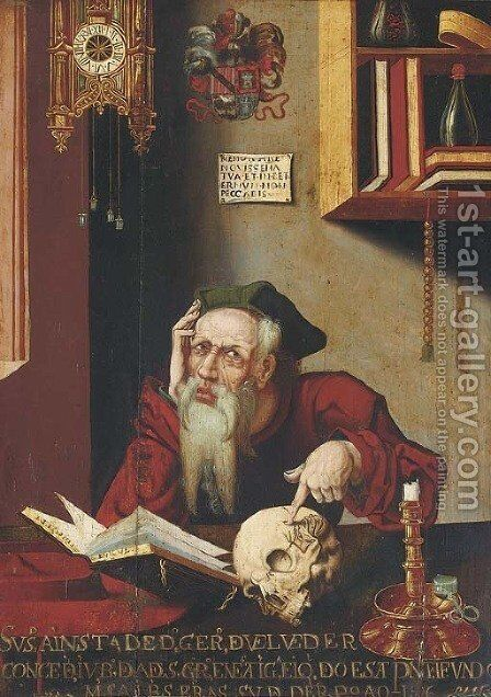 Saint Jerome in his study 4 by (after) Cleve, Joos van - Reproduction Oil Painting