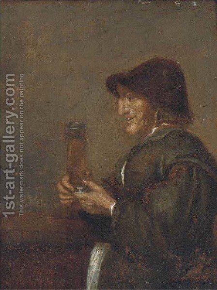 A peasant man smoking a pipe in an interior by (after) Joos Van Craesbeeck - Reproduction Oil Painting