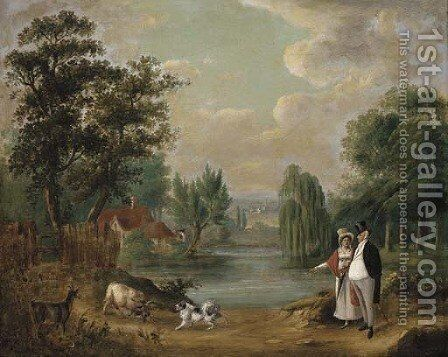 An elegant couple walking with their dog in a lake landscape by (after) Farington, Joseph - Reproduction Oil Painting