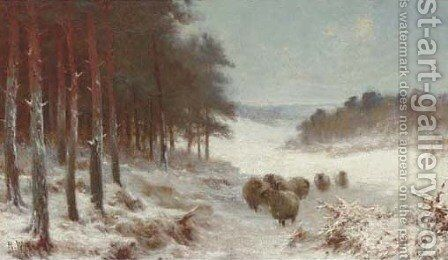 Sheep in a snowy landscape by (after) Joseph Farquharson - Reproduction Oil Painting