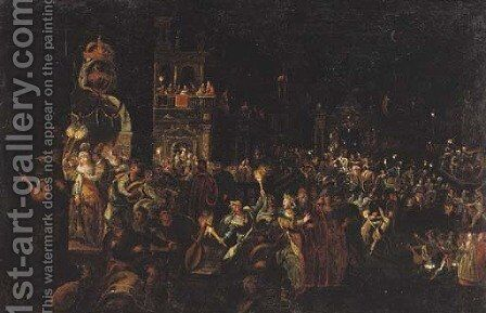 A carnival at night by (after) Joseph, The Younger Heintz - Reproduction Oil Painting