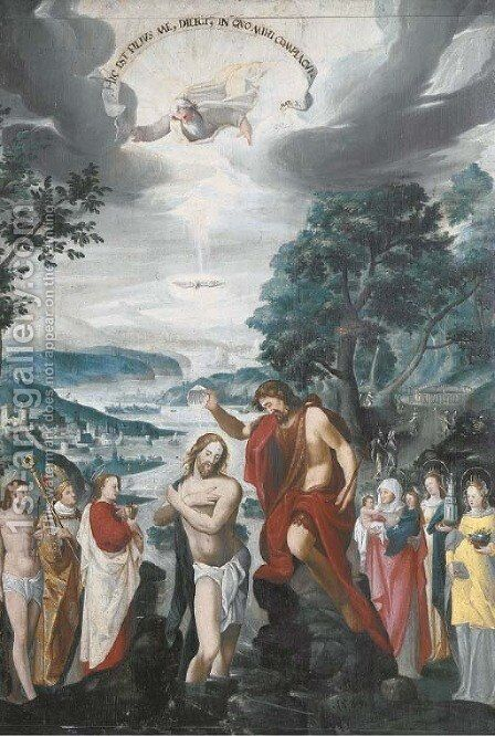 The Baptism of Christ by (after) Joseph, The Younger Heintz - Reproduction Oil Painting