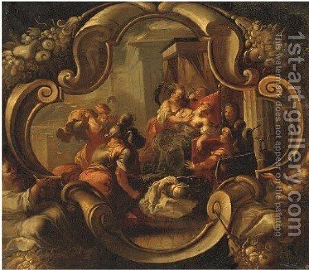 The Death of Cleopatra, in a feigned cartouche by (after) Joseph, The Younger Heintz - Reproduction Oil Painting