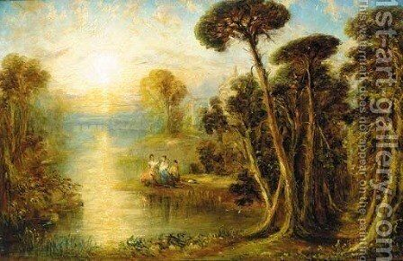 Ladies in a classical river landscape at sunset by (after) Joseph Mallord William Turner - Reproduction Oil Painting