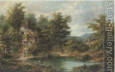 Figures by a pond, with a cottage beyond by (after) Joseph Thors - Reproduction Oil Painting