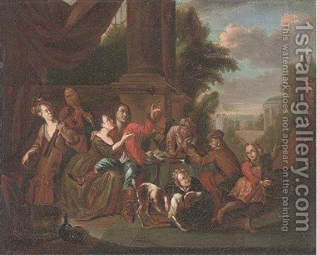 Elegant company drinking and music making in a courtyard by (after) Joseph Van Aken - Reproduction Oil Painting
