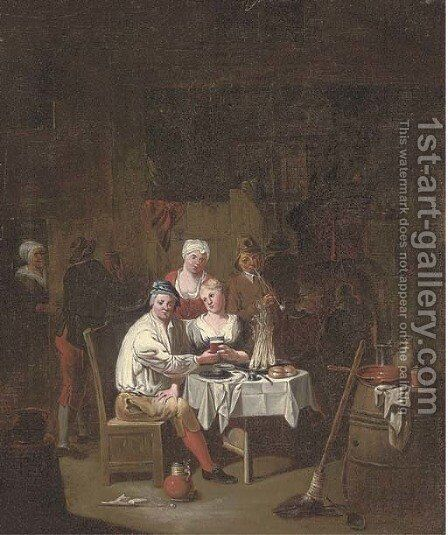 Figures drinking and smoking in an interior by (after) Joseph Van Aken - Reproduction Oil Painting