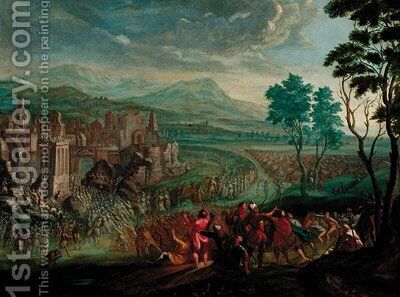 The Fall of the walls of Jericho by (after) Joseph Van Bredael - Reproduction Oil Painting