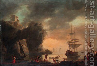 A Mediterranean inlet with a man-o'-war lowering its sails and fishermen pulling in their nets in the foreground by (after) Claude-Joseph Vernet - Reproduction Oil Painting