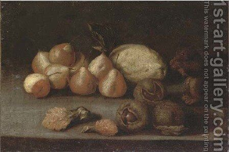 A squirrel, pears, a melon, lychees and chestnuts on a ledge by (after) Juan De Zurbaran - Reproduction Oil Painting