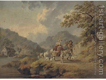 Peasants travelling to market with geese and chickens, a watermill beyond by (after) Julius Caesar Ibbetson - Reproduction Oil Painting